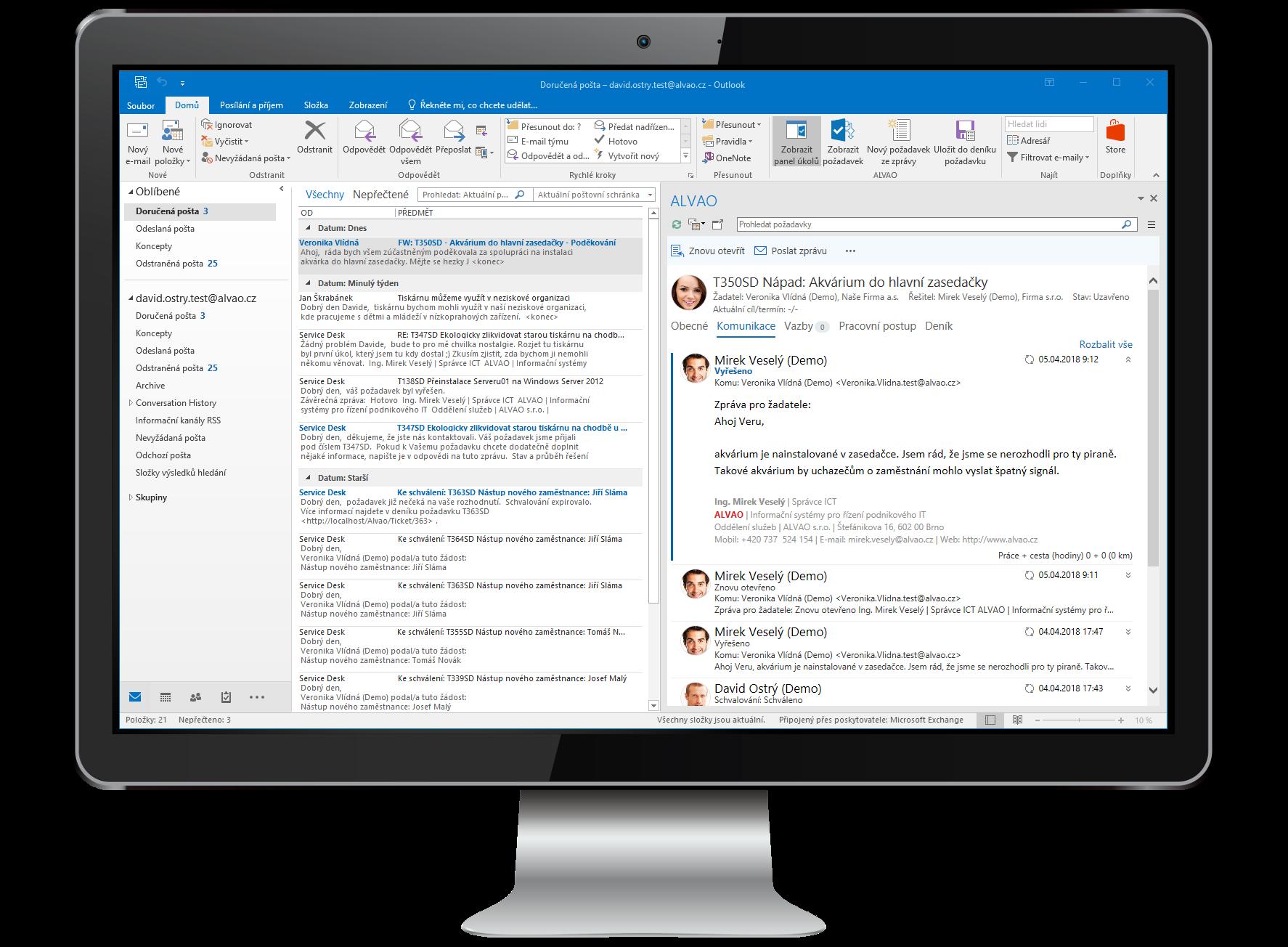 Síla celého service desku ve vašem Outlooku