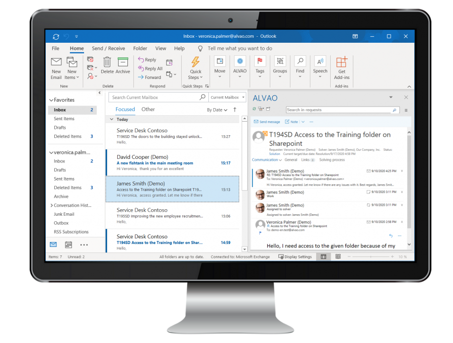 The power of the entire service desk in your outlook